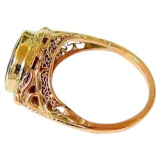 Antique 10k Yellow and Rose Gold Oval Fiery Garnet Ring