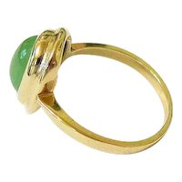 Antique Cabochon Jadeite Jade 14k Yellow Gold Ring
