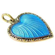 Blue Guilloche Gold Vermeil over Sterling Heart Pendant Charm David Andersen
