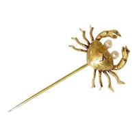14K Yellow Gold Seed Pearl Figural Crab Brooch Pin with Clutch