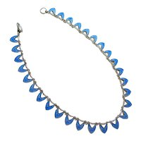 Sky Blue Guilloche Enamel Sterling Silver Scalloped Necklace Denmark