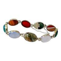 Scottish Agate Sterling Silver Bracelet Hallmarked and Signed
