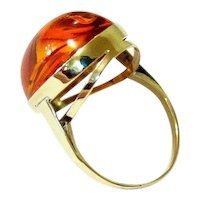 Edwardian Cabochon Cognac Baltic Amber 8k Yellow Gold Ring