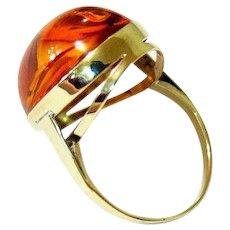 Edwardian Cabochon Cognac Baltic Amber 8k Yellow Gold Ring