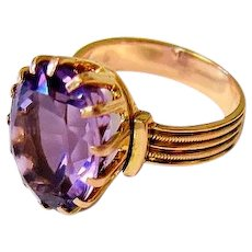 Oval Faceted Amethyst 14k Rose Gold Ring