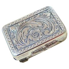European Coin Silver Floral Etched Pill Trinket Box Signed