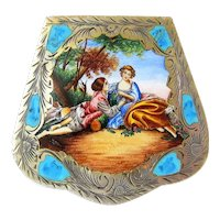 Rare Hand Painted Enamel Coin Silver Compact Keepsake Box
