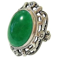 Art Deco Cabochon Green Chrysoprase Sterling Silver Ring