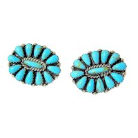 Sterling Petit Point Turquoise Clip Earrings