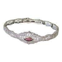 Art Deco Esemco Sterling Filigree Amethyst Paste Bracelet