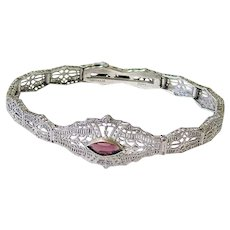 Art Deco Esemco Sterling Filigree Amethyst Paste Bracelet