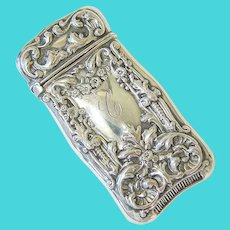 Antique Art Nouveau Sterling Repousse Match safe Vesta Case