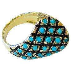 Mid Century Turquoise 14k Yellow Gold Enamel Ring