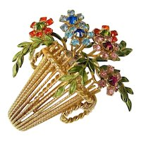 Rhinestone Enamel Gold Tone Floral Basket Brooch Signed