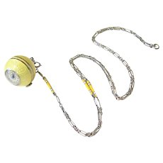 Art Deco Sterling Pale Yellow Enamel Pendant Watch with Matching Chain - Running