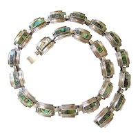 Mid Century signed Sterling Silver Abalone Necklace