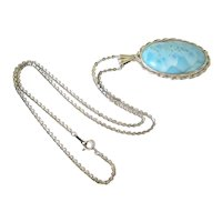 Sterling Silver Large Oval Cabochon Larimar Pendant and Chain
