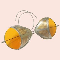Art Deco Amber Glass Motorcycle Automobile Bicycle Safety Goggles