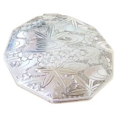 Sterling Silver Psychedelic Etched Powder Case Fully Hallmarked