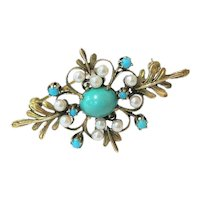 Mid Century Modern 14K Seed pearl Turquoise Brooch