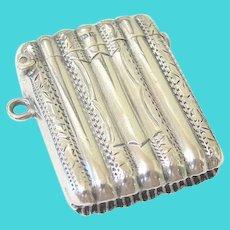 Antique Edwardian Sterling Silver Match Safe Vesta Case Chatelaine