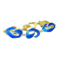 Blue Guilloche Gold Vermeil over Sterling Silver Bracelet by Ivar T Holth