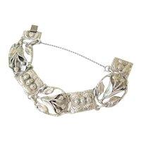 Solid Sterling Silver Floral Inspired Bracelet Signed