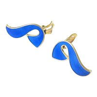 Blue Guilloche Gold Vermeil over Sterling Silver Earrings by Ivar T Holth