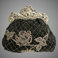 Beaded Purse Scenic Frame Engraved with Serpents with Dog Like Heads