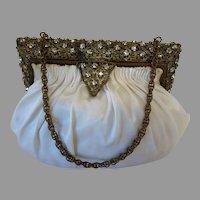 Vintage Purse with Jewelled Frame Rhinestone White Satin