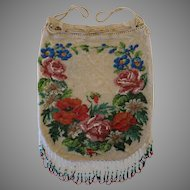 Vintage Beaded Purse with Floral Design Beautiful Fringe