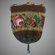 Vintage Beaded Purse Floral Created with the Tiniest of Beads Reticule Bag Handbag