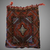 Vintage Beaded Purse Geometric Design Bag Handbag Reticule