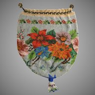 Vintage Beaded Purse Floral Reticule Bag Handbag