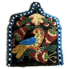 Antique Vintage Native American Indian Beaded Purse Bird Figural Scenic