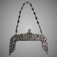 Vintage Sterling Silver Purse Frame Cherubs Grape Vines Birds Scenic Figural Frame