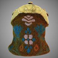 Vintage Celluloid Frame Beaded Purse Bag Handbag Asian Japanese Geisha France