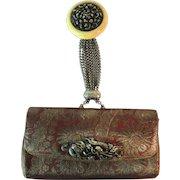 Vintage Japanese Tobacco Pouch Replica Purse Clutch Netsuke Chrysanthemum