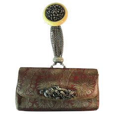 Vintage Japanese Tobacco Pouch Replica Purse Clutch Netsuke Chrysanthemum