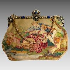 Vintage Aubusson Scenic Figural Tapestry Purse Jewelled Bag Handbag