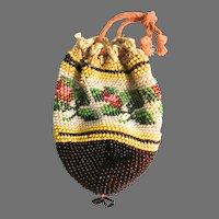 Vintage Doll Purse Micro Beaded 3 X 2.5 Inches Floral Bag Handbag