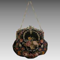 Vintage Petit Point Purse Jewel Encrusted Frame Bag Handbag