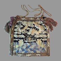 Vintage Embroidered Forbidden Stitch Chinese Purse Dragon Serpents Fish Bag Handbag