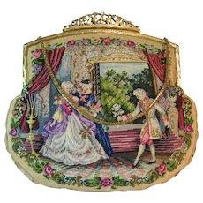 Petit Point Purse Vintage Scenic Micro Stitches Outstanding Bag Handbag
