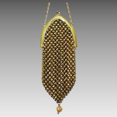 Dazzling Vintage Metal Mesh Purse Handbag Flapper Bag circa 1920s