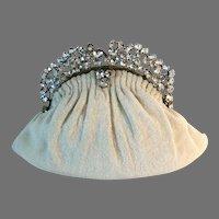 Fabulous Rhinestone Jewelled Frame Beaded Purse Bag Handbag French France