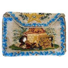 Antique Beaded & Petit Point Purse Bag Masonic Pouch Bag circa 1890s