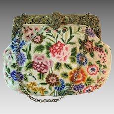 Vintage Petit Point Purse Ornate Intricate Filigree Frame Bag Handbag