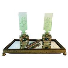 """Vintage 2 Perfume Bottles Crystal Intaglio Jewelled Mirror Dauber Filigree 3.75"""""""