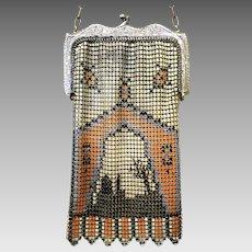 Vintage Mesh Purse Whiting Davis Scenic Flapper Bag Handbag circa 1920s